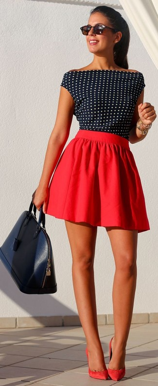 Consider teaming a blouse with a red skater skirt for a trendy and easy going look. Red suede pumps will add elegance to an otherwise simple look.