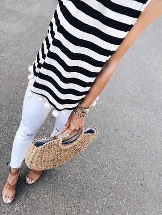 How to wear: white and black horizontal striped sleeveless top, white ripped skinny jeans, brown leather wedge sandals, tan straw tote bag