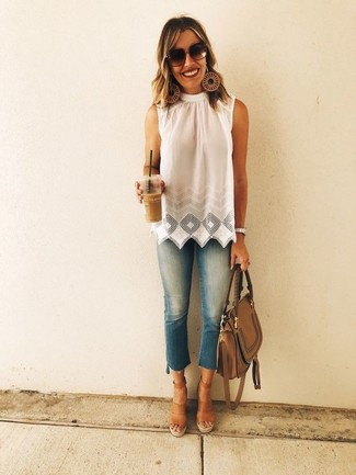 How to wear: white eyelet sleeveless top, blue skinny jeans, brown leather wedge sandals, brown leather satchel bag