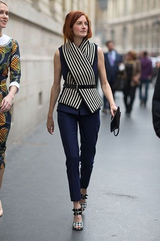 How to Wear a White Vertical Striped Scarf For Women: This getup with a navy sleeveless top and a white vertical striped scarf isn't hard to score and easy to change according to circumstances. If you feel like dressing up, enter a pair of black and white plaid heeled sandals into the equation.