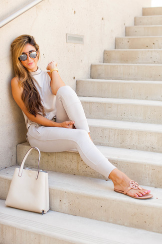 Wear a beige shell top and beige pants and you'll look like a total babe. Khaki leather thong sandals will add some edge to an otherwise classic getup. You can bet this combination is great when summer settles in.