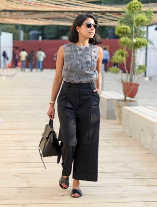 Women's Grey Embroidered Sleeveless Top, Black Wide Leg Pants, Black Leather Flat Sandals, Black Leather Satchel Bag