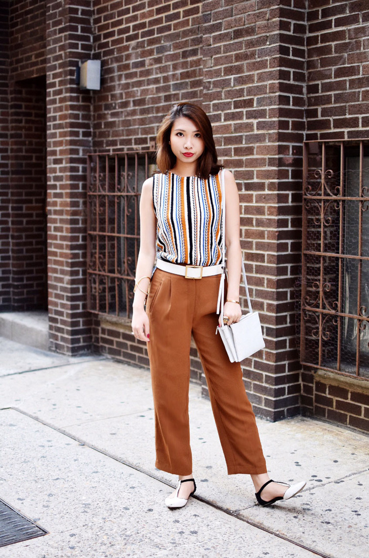Women's Tan Vertical Striped Sleeveless Top, Tobacco Wide Leg Pants, White  and Black Leather Flat Sandals, White Leather Crossbody Bag | Women's  Fashion