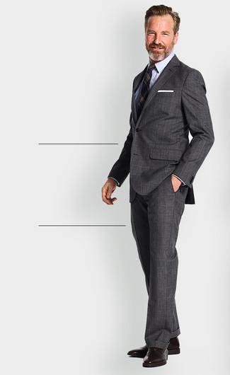 0653e6bcdc1b Men's Charcoal Plaid Suit, Navy Vertical Striped Blazer, Light Blue Dress  Shirt, Dark
