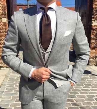 Men's Grey Suit, Grey Cardigan, White Dress Shirt, Dark Brown Tie ...