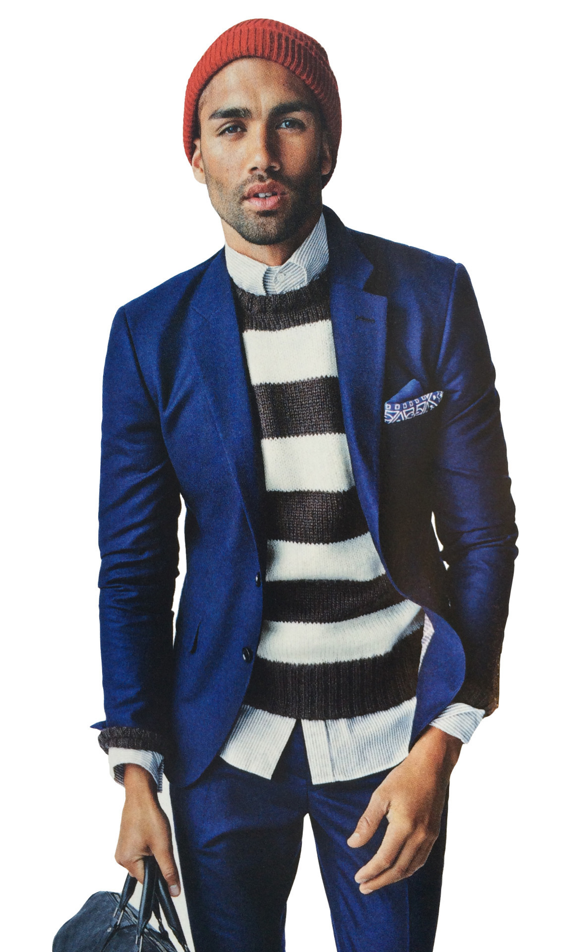 Men's Blue Wool Suit, White and Black Horizontal Striped Crew-neck ...