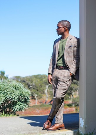 How to wear: grey plaid suit, olive crew-neck sweater, brown leather tassel loafers, navy print pocket square