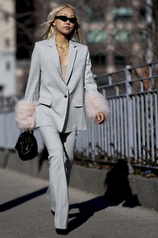 How to wear: grey suit, tan crew-neck t-shirt, black suede ankle boots, black leather handbag