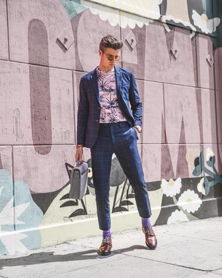 How to wear: navy check suit, pink floral crew-neck t-shirt, tobacco leather brogues, grey leather briefcase