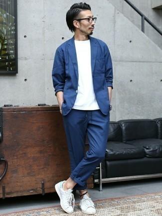 Slim Fit Two Piece Suit Blue