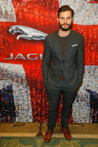 Jamie Dornan wearing Charcoal Vertical Striped Suit, Dark Brown Crew-neck T-shirt, Brown Leather Oxford Shoes, White Pocket Square