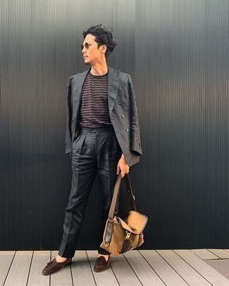 Tan Canvas Messenger Bag Outfits: This combination of a charcoal suit and a tan canvas messenger bag is super easy to recreate and so comfortable to work as well! For something more on the smart side to finish your look, add a pair of brown suede tassel loafers to your ensemble.