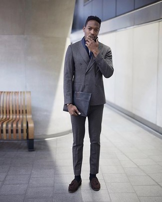 Dark Brown Bracelet Outfits For Men: In sartorial situations comfort is prized, rock a charcoal suit with a dark brown bracelet. Dark brown suede tassel loafers will breathe a sense of elegance into an otherwise mostly casual ensemble.