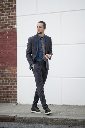 How to Wear Dark Brown Leather Low Top Sneakers For Men: For manly sophistication with a fashionable spin, you can easily opt for a charcoal suit and a navy denim shirt. For a more casual twist, why not complete your ensemble with dark brown leather low top sneakers?