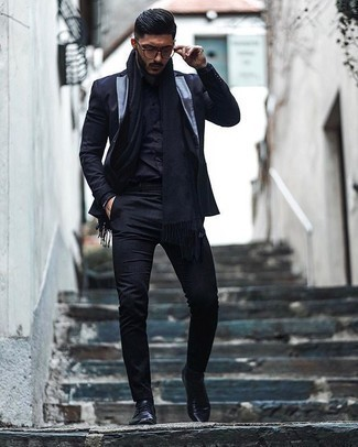Bracelet Outfits For Men: Want to infuse your wardrobe with some elegant cool? Opt for a black suit and a bracelet. Introduce black leather derby shoes to the mix to kick things up to the next level.