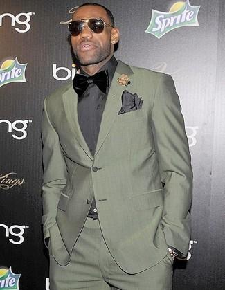 2c2eff4d ... Lebron James wearing Olive Suit, Charcoal Dress Shirt, Black Velvet  Bow-tie,