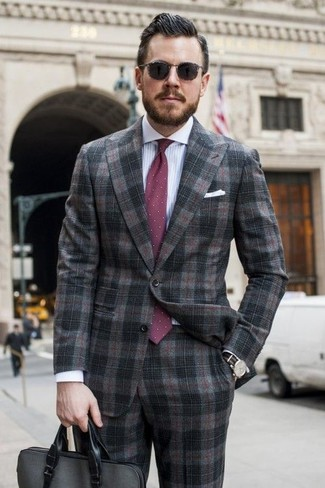 How to wear: charcoal plaid suit, white and blue vertical striped dress shirt, charcoal leather briefcase, burgundy polka dot tie