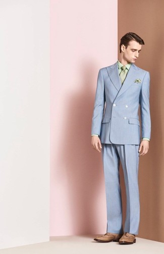 How to wear: light blue suit, mint print dress shirt, tan leather brogues, mint tie