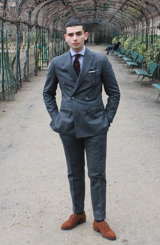 How to wear: grey wool suit, white and blue gingham dress shirt, tobacco suede brogues, burgundy silk tie