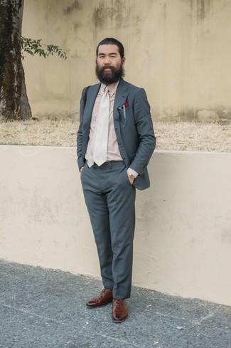 Men's Charcoal Suit, Beige Dress Shirt, Brown Leather Brogues, Beige Tie