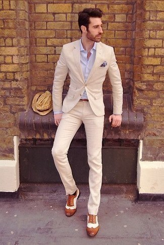 How to Wear a Light Blue Print Pocket Square: You'll be amazed at how easy it is for any gent to pull together this off-duty outfit. Just a beige suit and a light blue print pocket square. Rounding off with tobacco leather brogues is a fail-safe way to bring an extra dose of style to your ensemble.