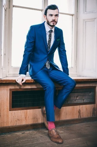 How to Wear a Blue Suit: This pairing of a blue suit and a white dress shirt is a surefire option when you need to look like a true gent. Ramp up your whole look with a pair of brown leather brogues. So if you're after dressing tips for 20-somethings, this ensemble is definitely worth saving for later.