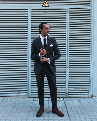 White Pocket Square Outfits: Uber stylish, this casual combination of a charcoal vertical striped suit and a white pocket square brings variety. Complete your ensemble with a pair of brown suede brogues to instantly switch up the outfit.