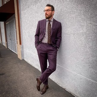 Brown Socks Outfits For Men: This pairing of a burgundy vertical striped suit and brown socks is on the casual side but is also seriously stylish and extra dapper. Want to go all out with shoes? Complement this ensemble with brown leather brogues.