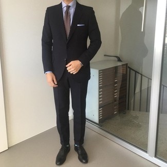 Suit Outfits: This elegant combination of a suit and a light blue dress shirt is a favored choice among the dapper gentlemen. And if you need to immediately tone down this outfit with a pair of shoes, introduce a pair of black leather brogues to the equation.