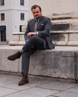 Grey Socks Outfits For Men: To assemble a relaxed casual outfit with a contemporary spin, you can opt for a charcoal suit and grey socks. For a truly modern hi-low mix, complement your ensemble with dark brown suede casual boots.