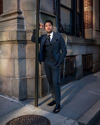 Navy and Green Plaid Suit Outfits: A navy and green plaid suit and a white dress shirt are certainly worth being on your list of essential menswear pieces. Finishing with a pair of black leather chelsea boots is a surefire way to add a fun feel to this outfit.