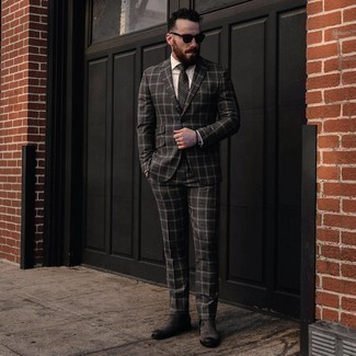 Charcoal Plaid Tie Outfits For Men: Combining a charcoal plaid suit and a charcoal plaid tie will allow you to prove your outfit coordination savvy. Complement this outfit with a pair of charcoal suede chelsea boots to shake things up.