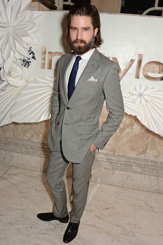 Jack Guinness wearing Grey Suit, White Dress Shirt, Black Leather ...