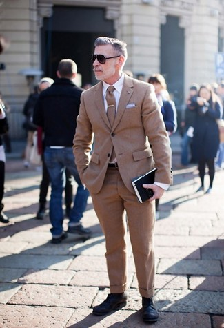 How to wear: brown wool suit, white dress shirt, black leather derby shoes, brown wool tie