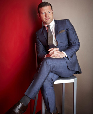 Dermot O'Leary wearing Navy Suit, White Dress Shirt, Dark Brown Leather Derby Shoes, Dark Brown Wool Tie