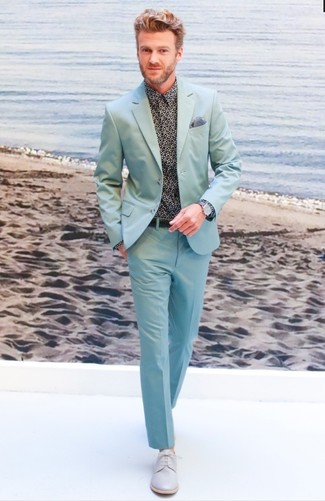 How to Wear a Mint Suit: Reach for a mint suit and a black print dress shirt if you're aiming for a clean, fashionable ensemble. Consider grey leather derby shoes as the glue that will bring your outfit together.