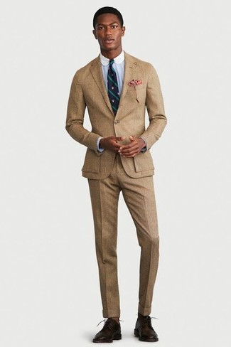 How to wear: tan suit, light blue dress shirt, dark brown leather derby shoes, navy and green vertical striped tie