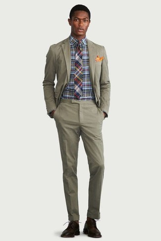 How to wear: olive suit, multi colored check dress shirt, dark brown leather derby shoes, multi colored plaid tie