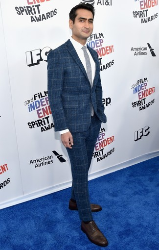 How to wear: blue check wool suit, white dress shirt, dark brown leather derby shoes, grey tie