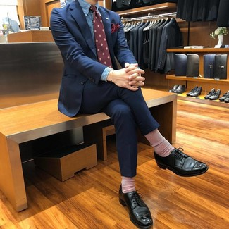 How to wear: navy suit, blue chambray dress shirt, black leather derby shoes, burgundy print tie