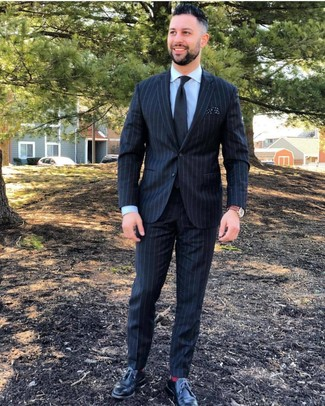 How to wear: black vertical striped suit, light blue dress shirt, black leather derby shoes, black tie