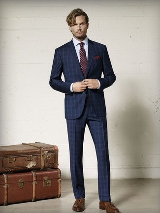 How to wear: navy plaid suit, white check dress shirt, brown leather derby shoes, burgundy print tie