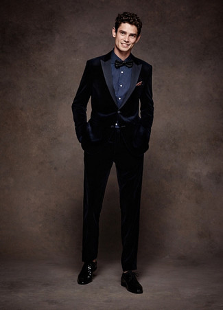 How to wear: navy velvet suit, navy dress shirt, black leather derby shoes, black bow-tie