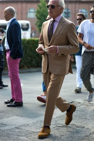 How to Wear a Pink Vertical Striped Dress Shirt For Men: A pink vertical striped dress shirt and a tan suit are a polished outfit that every smart gentleman should have in his wardrobe. Introduce tan suede derby shoes to the mix and off you go looking smashing.