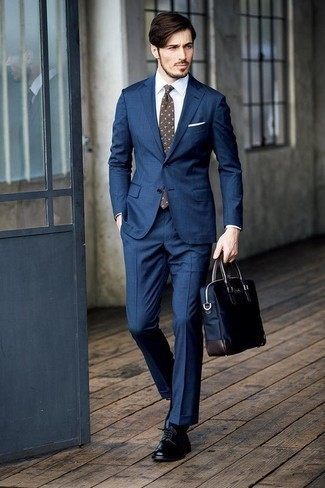 How to Wear a Navy Canvas Briefcase: This off-duty pairing of a navy suit and a navy canvas briefcase is a safe option when you need to look cool and relaxed but have no time to put together an ensemble. Wondering how to complete this outfit? Round off with a pair of black leather derby shoes to elevate it.