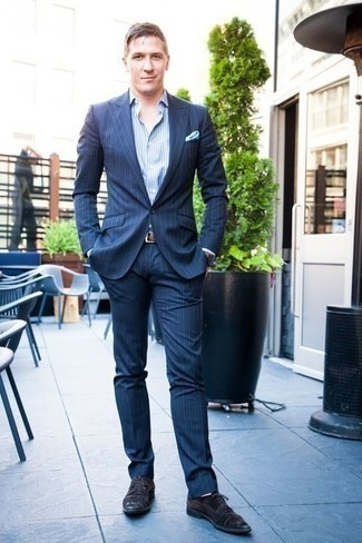 How to Wear a Navy Vertical Striped Suit: For an outfit that's classic and camera-worthy, team a navy vertical striped suit with a light blue vertical striped dress shirt. Black suede derby shoes round off this getup quite well.