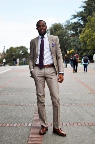 How to Wear Brown Leather Derby Shoes: Pair a beige suit with a white dress shirt if you're going for a proper, trendy look. Balance this look with a more casual kind of shoes, like this pair of brown leather derby shoes.
