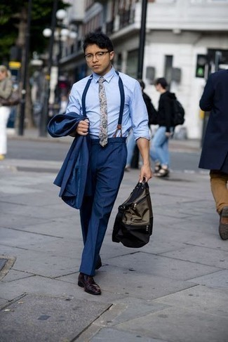 How to Wear Burgundy Leather Derby Shoes: Marrying a navy suit and a light blue dress shirt is a fail-safe way to infuse style into your wardrobe. For a more casual twist, add burgundy leather derby shoes to your look.