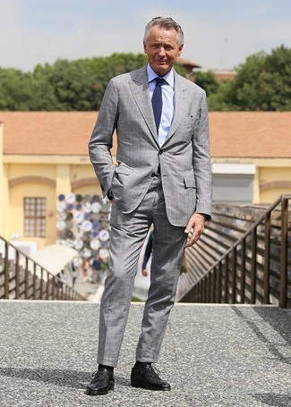 Black Leather Derby Shoes Outfits: A grey plaid suit and a light blue dress shirt are absolute staples if you're planning a sophisticated closet that matches up to the highest menswear standards. When not sure as to the footwear, complete this ensemble with black leather derby shoes.