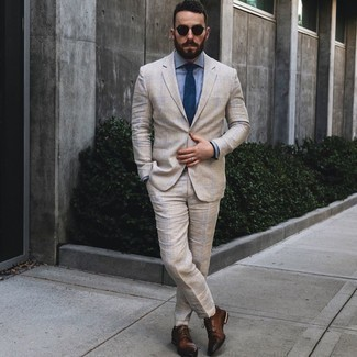 Brown Leather Derby Shoes Outfits: This combo of a beige plaid suit and a light blue dress shirt exudes refined elegance. Brown leather derby shoes are a winning footwear option that's also full of character.